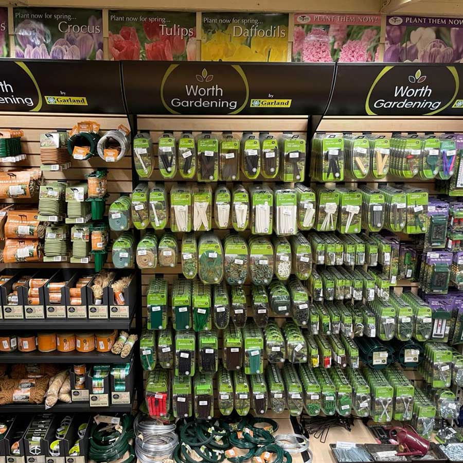 Gardening tools & sundries in the shop at Bumbles, February 2021