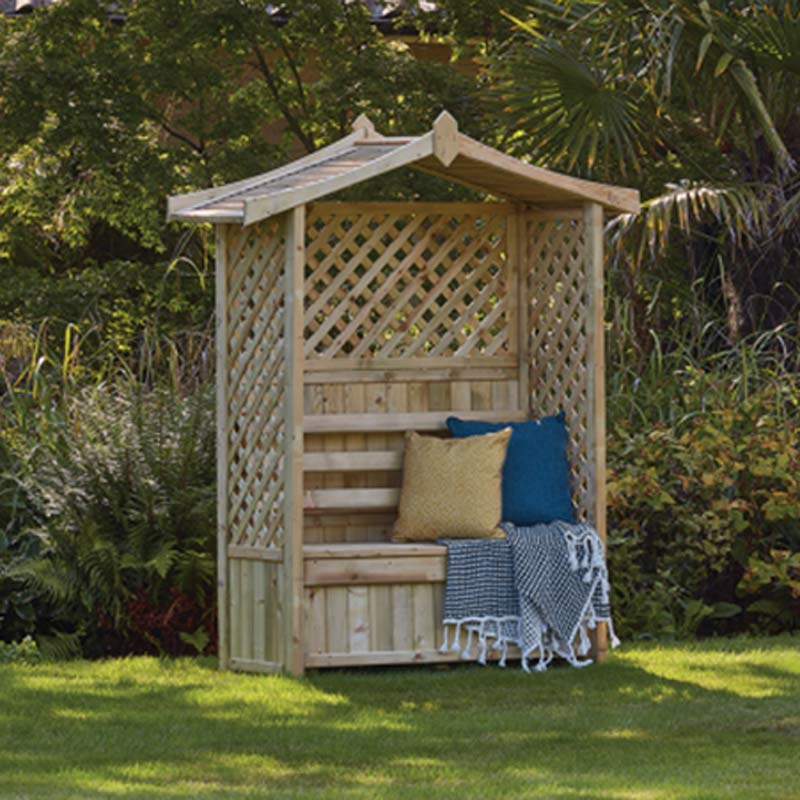 Woodshaw Tansley Seated Arbour available at Bumbles, April 2021