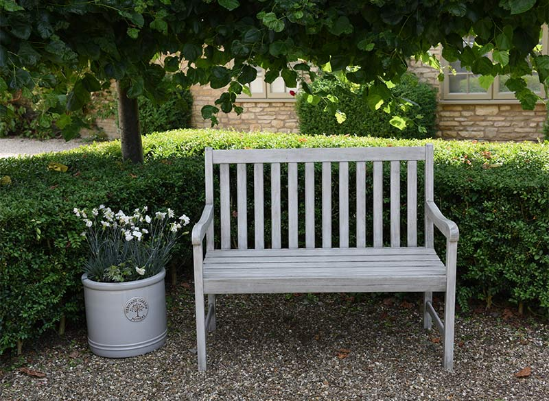 Woodlodge 2 seater bench available at Bumbles, April 2021