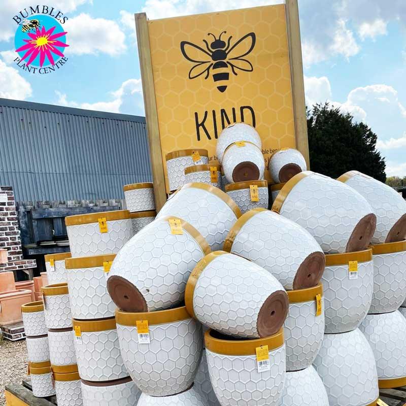 Range of Bee Kind Honeycomb Plant Pots at Bumbles, May 2021
