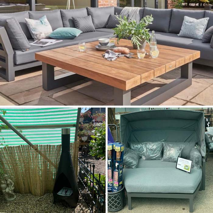 Garden sofa lounge sets & chimineas at Bumbles, July 2021