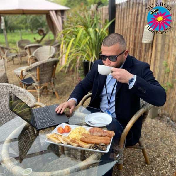 Will enjoying breakfast at Bumbles, September 2021